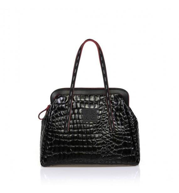 FRNC 1426 τσάντα χειρός  κ ώμου κροκό μαύρο.