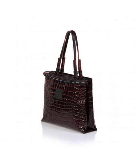 FRNC 1428 τσάντα χειρός  κ ώμου κροκό μπορντό.