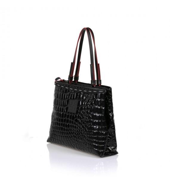 FRNC 1428 τσάντα χειρός  κ ώμου κροκό μαύρο.