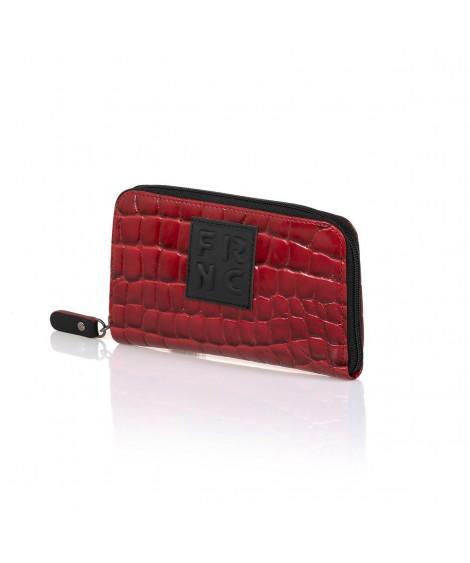 FRNC WAL005 πορτοφόλι croco κόκκινο.