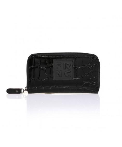 FRNC WAL005 πορτοφόλι croco μαύρο.