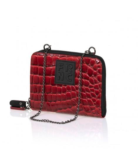 FRNC WAL036 πορτοφόλι- crossbody croco κόκκινο.