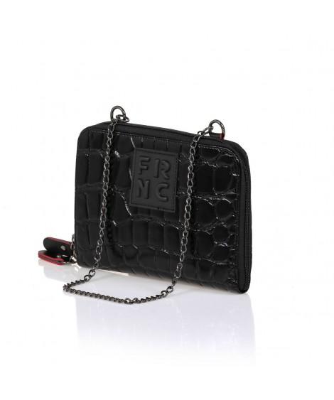 FRNC WAL036 πορτοφόλι- crossbody croco μαύρο.